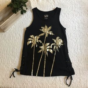 Justice black tank with gold palm trees